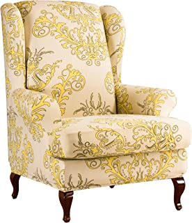 Subrtex Spandex Universal Wing Back Armchair Covers Floral Printed Chair Slipcovers Furniture Protector (Yellow)