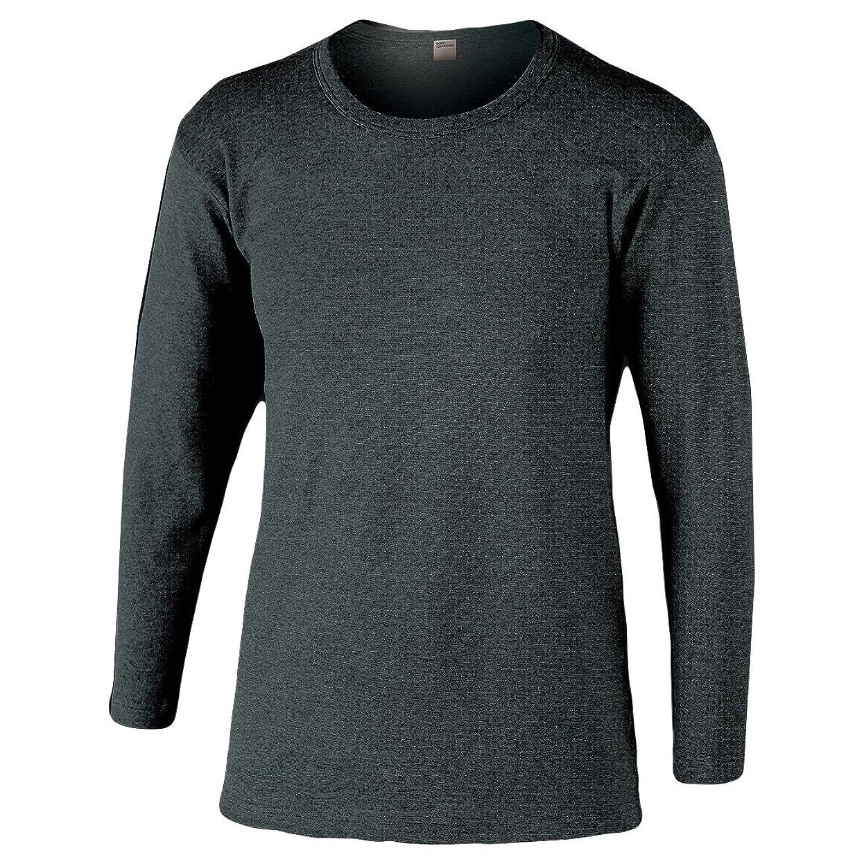 おたふく手袋 ボディータフネス 発熱?保温 テックサーモ インナーシャツ 長袖丸首 モクグレー M JW-169