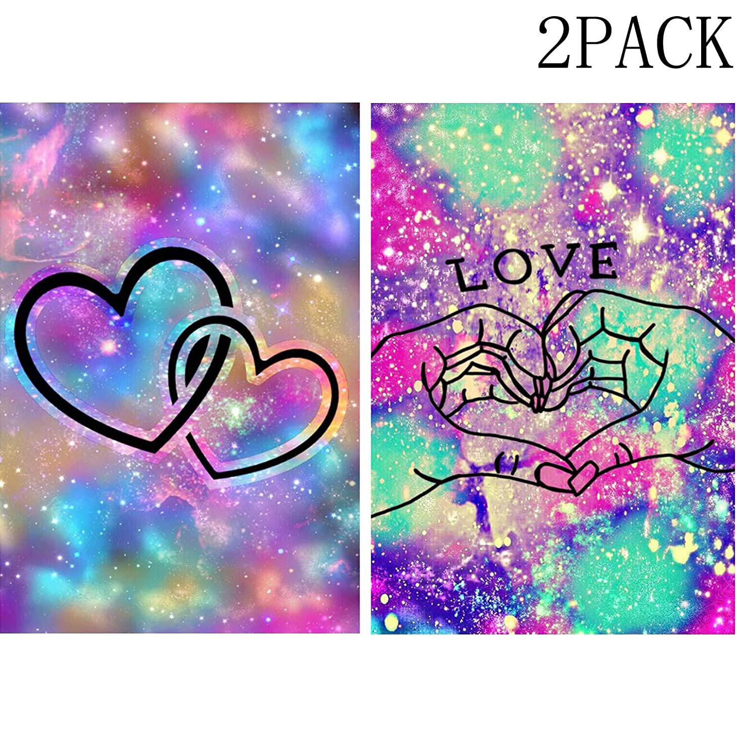 DIY 5D Diamond Paint by Number for Adults Kit,Starry Sky Hands Finger More Than Heart Love+Two Hearts of Love Wedding Gift Diamond Embroidery Paintings for Home Wall Decor 2PACK (11.8X15.7in-W18+W31)