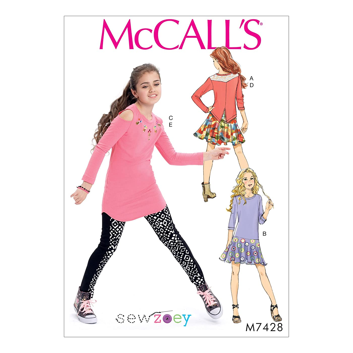 McCall Patterns M7428CHJ Girls' Back-Yoke Top, Drop-Waist, Cold-Shoulder Tunic, Skirt and Leggings Dress