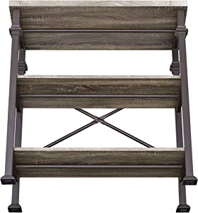 Hombazaar 3-Tier Bookshelf, Rustic Industrial Style Bookcase Furniture, Free Standing Storage Shelves for Living Room Bedroom and Kitchen, Grey Oak