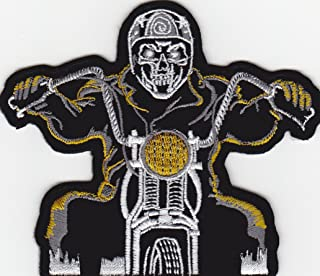 JAB Seller Aufnäher Bügelbild Aufbügler Iron on Patch Ghostrider Skelett auf Bike Motorrad Kutte