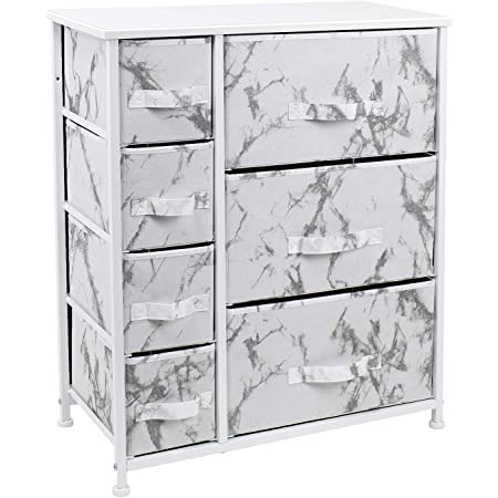 Sorbus Nightstand with 7 Drawers - Bedside Furniture & Accent End Table Chest for Home, Bedroom Accessories, Office, College Dorm, Steel Frame, Wood Top (7-Drawer, Marble White – White Frame)
