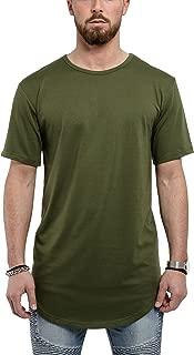 Blackskies Round Basic Men's Longline T-Shirt | Oversize Curved Fashion Short Sleeve L/S Long Tee S M L XL