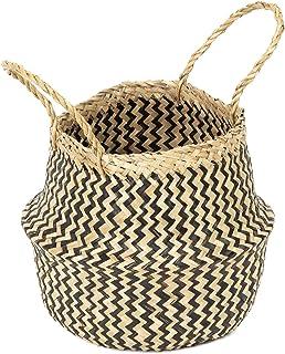 COMPACTOR Kosz do przechowywania z ręcznie plecionej naturalnej trawy morskiej, składany, z uchwytami, ciemne drewno, śred...