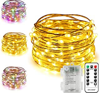 ErChen Battery Operated Dual-Color Led String Lights, 66FT 200 Leds Color Changing Dimmable 8 Modes Copper Wire Fairy Ligh...
