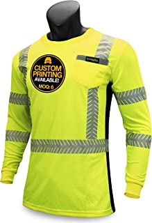 KwikSafety (Charlotte, NC) RENAISSANCE MAN (with POCKET) Class 3 ANSI High Visibility Safety Shirt Fishbone Reflective Tape Construction Security Hi Vis Clothing Men Long Sleeve Yellow Black XL