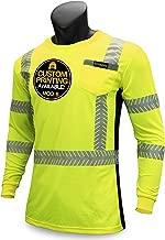KwikSafety (Charlotte, NC) RENAISSANCE MAN (with POCKET) Class 3 ANSI High Visibility Safety Shirt Fishbone Reflective Tape Construction Security Hi Vis Clothing Men Long Sleeve Yellow Black 2XL