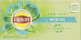 Lipton Thé Vert Menthe, Antioxydant, Goût Subtil et Savoureux, Rafraîchissant, Certifié Rainforest Alliance, 30 Sachets
