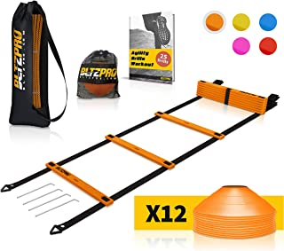 Bltzpro Agility Ladder with Soccer Cones- A Speed...