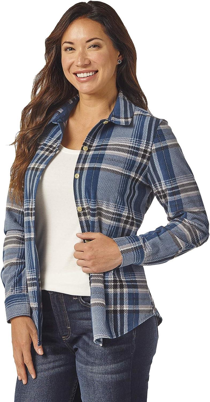 Riders by Lee Indigo Womens Long Sleeve Button Front Pattern Fleece Shirt