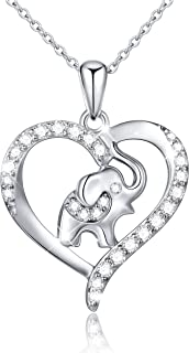 S925 Sterling Silver Lucky Elephant Love Heart Necklace for Women Daughter Girlfriend