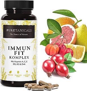 Vitaminkomplex Immun-Fit: A, C, E, D3, K2 + Zink | Förstärkt Immunsystem: Multivitamin Kapslar Högdoserat: Vuxna + Barn 90...