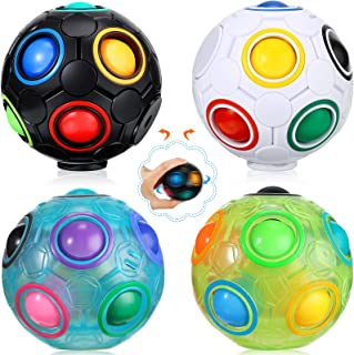 4 Pieces Glow Rainbow Magic Ball Cube Puzzle Toy Brain Teaser with 11 Rainbow for Teens and Adults (Various Style)