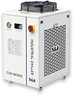 POVOKICI S&A CW-6000DN Industrial Water Chiller for 100W Solid-State Laser, 22KW CNC Spindle, 30W-300W Fiber Laser Cooling, 1.52HP, AC 1P 110V, 60Hz in US Stock