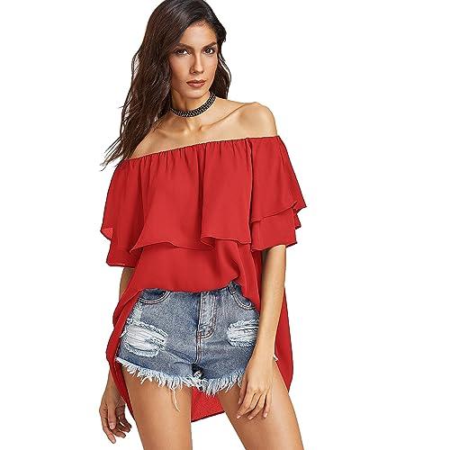 241f1272b57 SheIn Women's Off Shoulder Chiffon Ruffle Sleeve Blouse Top