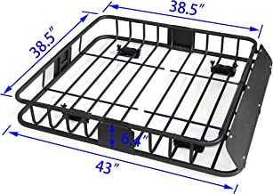 HTTMT MT371-029-M 43 Inches Universal Black Roof Rack Cargo Carrier w/Luggage Hold Basket SUV