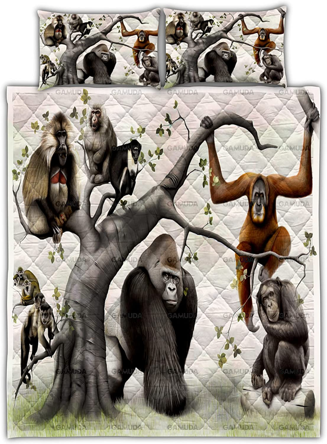 My favorite Primate Family Tree Quilt Bedding Cover Duvet Set Pillow Cove cheap
