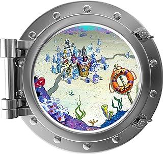 "18"" Port Scape Bikini Bottom Silver Porthole 3D Window Wall Sticker Spongebob Wall Decal Instant Sea Ocean Removable Fabri..."
