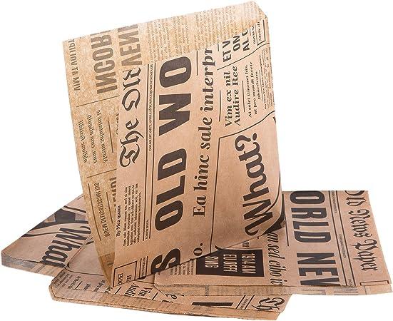 Snacktüten Burgerpapier Zeitung 13x13 cm 25 Stück
