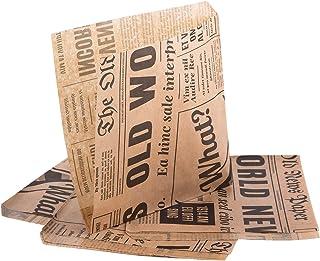(Pack de 50 articles) Oldnews 150 x 150 mm en Papier de fête 15x15 cm Sacs de Rangement Repas Repas Burger Frites