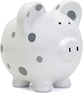 Child to Cherish Ceramic Polka Dot Piggy Bank, Grey