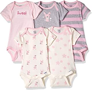 Gerber baby girls 5-pack Organic Short-sleeve Onesies infant and toddler bodysuits
