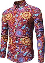 DATAIYANG 2019 New 3D Tie-dye Retro Floral Printed Man Casual Dress Shirt Fashion Linen Men's Slim Fit Long Sleeve Shirt