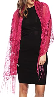 Apparelism Women's Mesh Sequin Metallic Party Prom Wedding Shawl Scarf with Fringe.