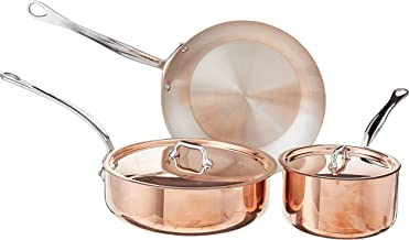 Mauviel Made In France M'Heritage Copper M150S 5-Piece Cookware Set, Cast Stainless Steel Handles.