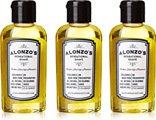 3-Pack - Alonzo's Sensational Premium Natural Shaving Oil for Men - 6 Ounce - Pre Shave - After Shave - Beard Oil for Face Body & Head - Smooth Pre-Shave