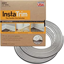 InstaTrim IT05GRY InstaTrim-1/2 inch wide Flexible, Self-adhesive, Caulk and Trim Strips for Floors, Ceilings, Countertops and More and More, 1/2 X 10 ft Long, 2 pk, Grey, 2 Pack
