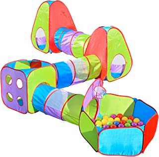 7 Piece Pop Up Tent with Bonus Play Balls - Play Tents with Tunnels and Ball Pit for Kids - Sunny Days Entertainment