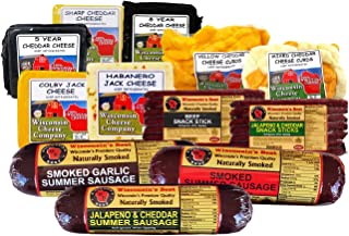 Wisconsin's Best and Wisconsin Cheese Company, Deluxe Sticks, Sausage and Cheese, Cheese Curd Assortment Gift (7 Lbs.) Great Christmas Holiday Family Gift Basket for Delivery.