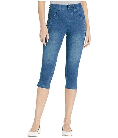 HUE Ultra Soft Denim High-Waist Short Capris (Windsor Blue) Women