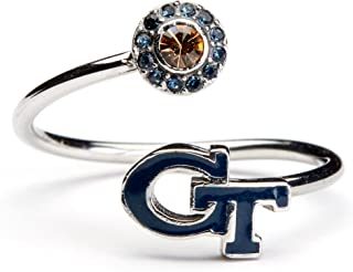 Georgia Tech Ring | Georgia Yellow Jackets Ring - Blue Block GT with Crystal | Officially Licensed Georgia Tech Jewelry | GT Gifts | Georgia Tech Gifts | Georgia Tech Jewelry