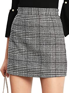 Floerns Women's Plaid High Waist Bodycon Mini Skirt