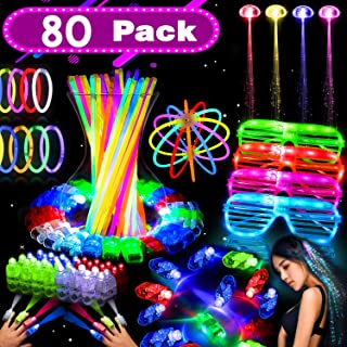 80 Pcs Glow Stick Party Pack Halloween Glow in the Dark Party Supplies with 50 Glow Sticks Bulk 20 Finger Lights 4 Light Up Led Glasses 4 Hair Lights Light Up Toys for Kids Birthday Party Favors