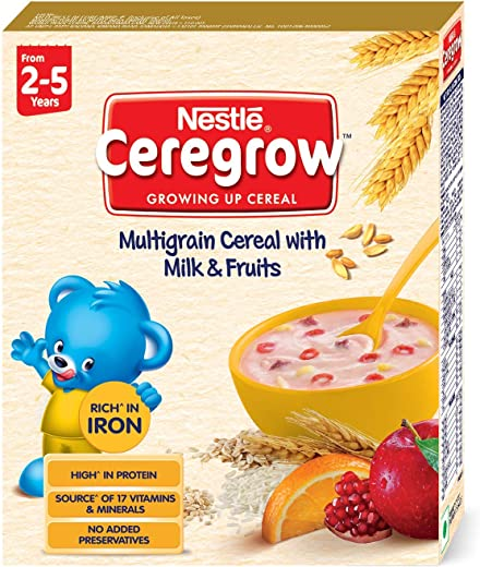 Nestle CEREGROW Growing Up Multigrain Cereal with Milk and Fruits (From 2-5 Years), 300g Bag-In-Box 1