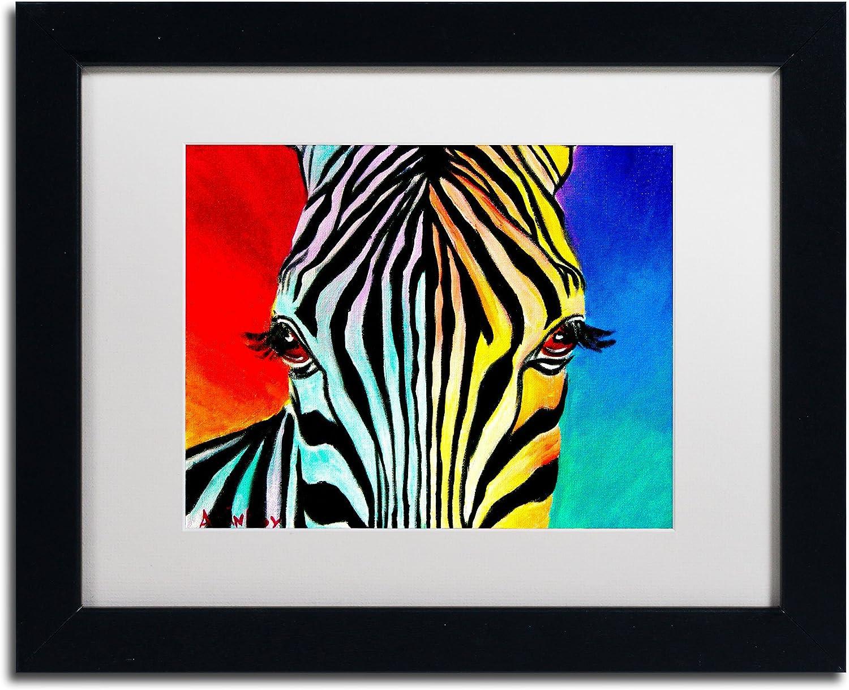 Trademark Fine Art Zebra Artwork DawgArt in White Matte and Black Frame, 11 by 14Inch