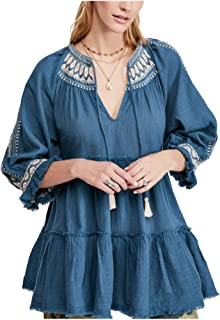 Free People Women's Peasant Top Teal Green US Medium M Embroidered