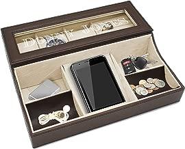 Personalized Leather Valet Tray Box - Custom Monogrammed Mens Dresser Organizer Catchall