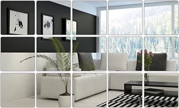 6 X 6 Inches Mirror Sheets Decals Self Adhesive Mirror Tiles Non Glass Mirror Stickers 15 Pieces Style 1