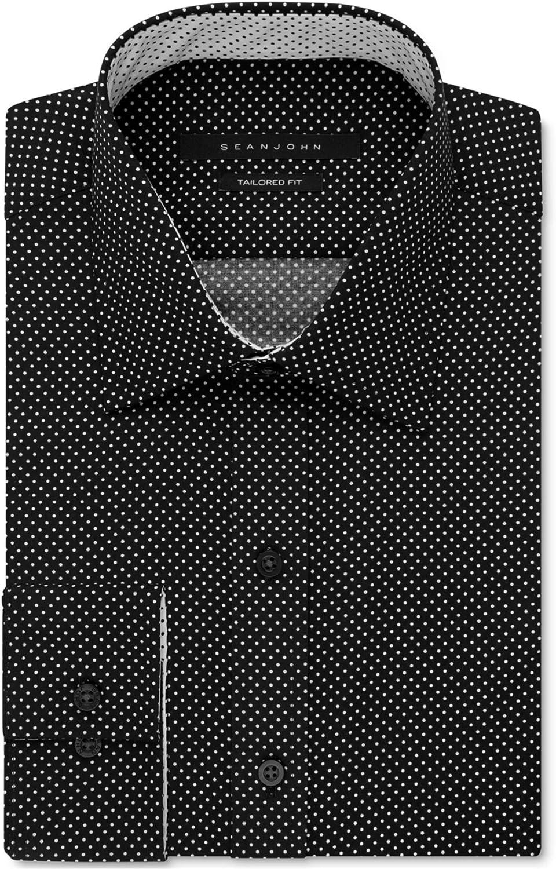 Sean John Mens Classic-Fit Button Up Dress Shirt Black 18.5