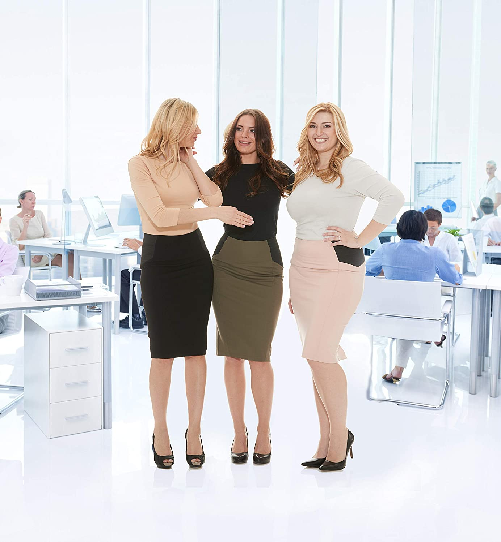ESTEEZ Women's Ponte Midi Bodycon Pencil Skirt - Modest Below Knee Length - Office - Charlotte