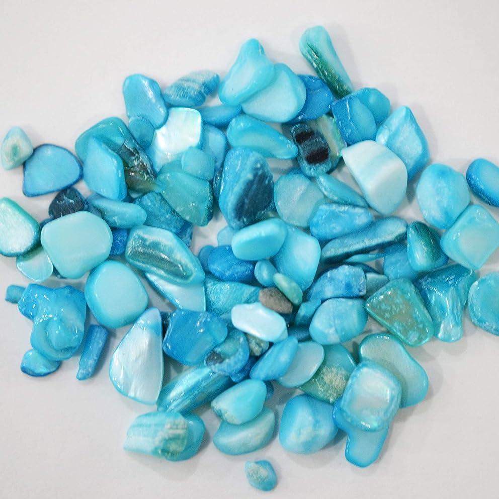 透過性転送達成するシェルストーン 1-04 ターコイズ ネイルパーツ / 約4g 丸いプラスチックケース入り