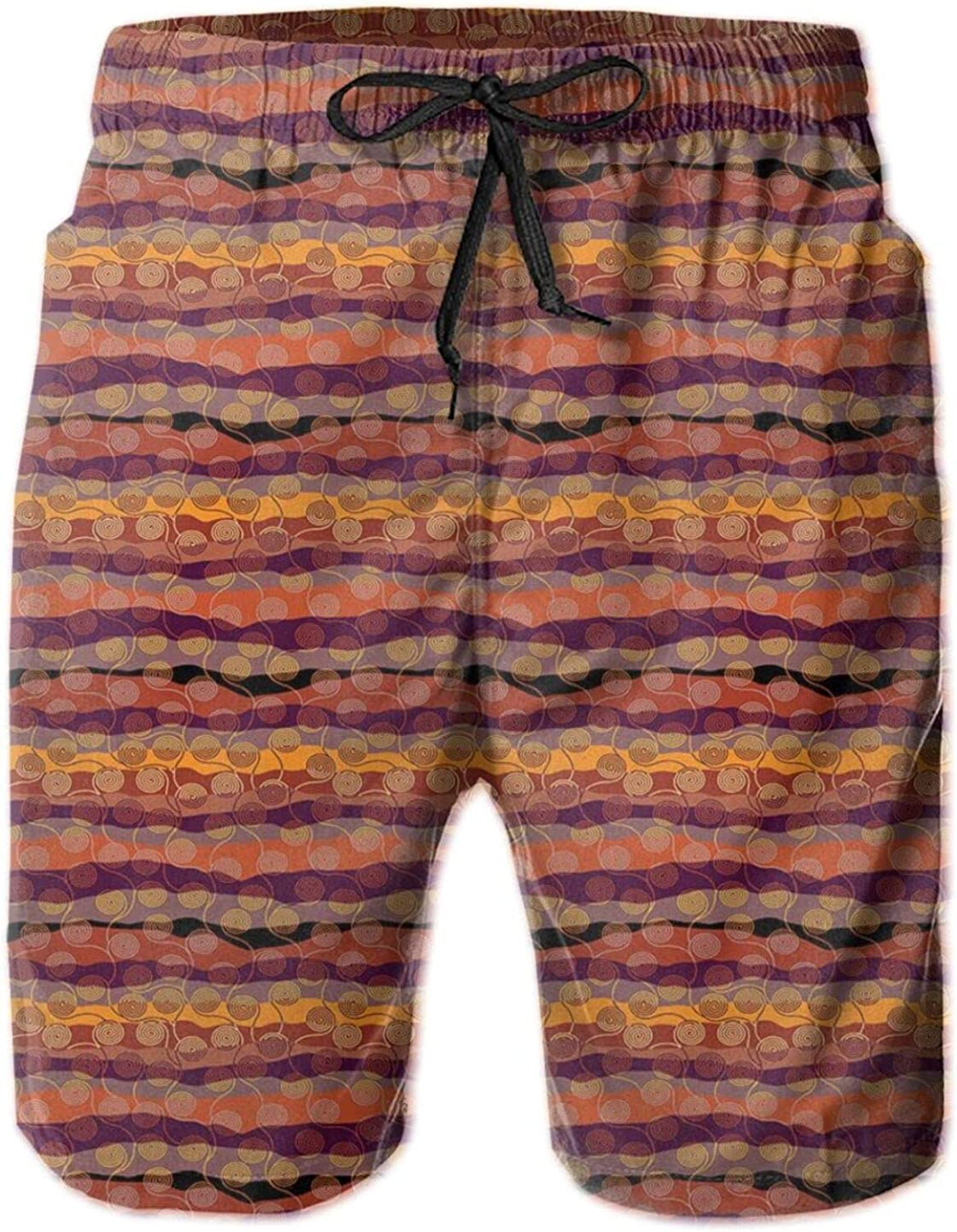 Ethnic Style Abstract Zigzag Art with Circular Patterns in Warm Tones Illustration Mens Swim Trucks Shorts with Mesh Lining,M