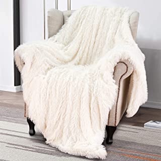 Softlife Super Soft Fluffy Faux Fur Throw Blanket 50 x 60 Reversible Plush Warm Sherpa Blankets for Couch Sofa Bed Throws Home Decorative, Cream