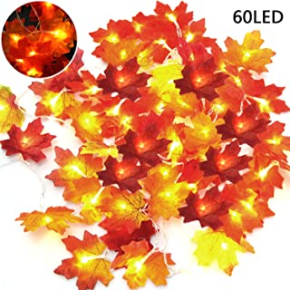 LOCOLO 2 Pieces Christmas Decorations Lighted Fall Garland, 30 LED Bright Red Fall Lights(9.8Ft), 30 LED Salmon Pink Maple Leaf String Lights (9.8Ft), Holiday Decorations String Lights