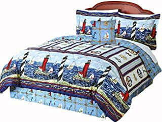 Nantucket Nautical Lighthouse Sailboats Blue & White Comforter Set + TOSS Pillow! (5pc Full Size) - (Window Treatments NOT Included)